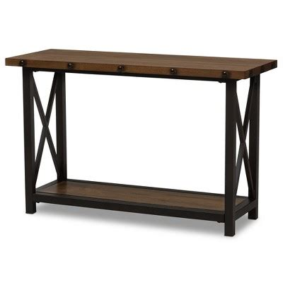 industrial sofa table herzen rustic industrial style antique textured finished Industrial Sofa Table