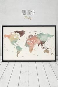 Carte Du Monde Deco : d co salon affiche de carte grand monde d tail monde carte imprim e voyage carte carte ~ Teatrodelosmanantiales.com Idées de Décoration