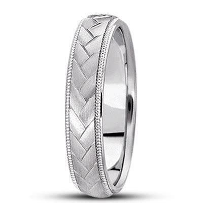 braided mens wedding ring diamond cut band  platinum