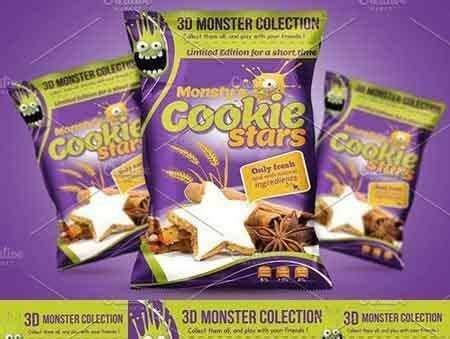 cookie packaging design template freepsdvn