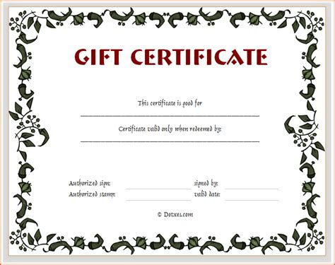gym gift certificate templates
