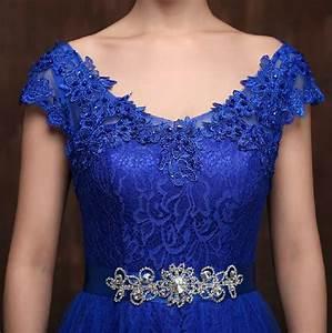 robe demoiselle d39honneur new lace cap manches bleu royal With robe bleu vert