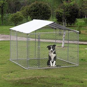 Outdoor pet kennel with cover aosomca for Dog run cage enclosure