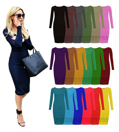 Womens Ladies Long Sleeve Midi Dress Stretch Bodycon Plain