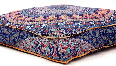 Indian Mandala Floor Pillow Square Ottoman Pouf Daybed