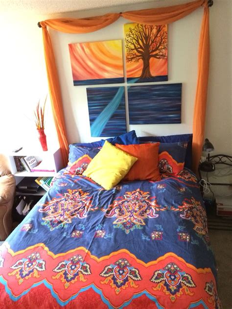 diy curtain and painting headboard moroccan style boho