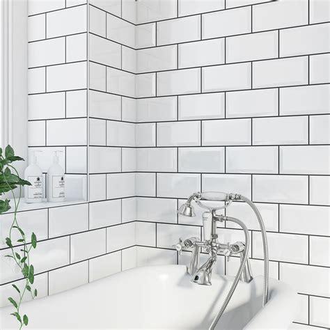 white metro tile british ceramic tile metro bevel white gloss tile 100mm x 200mm metro tiles taps and bath