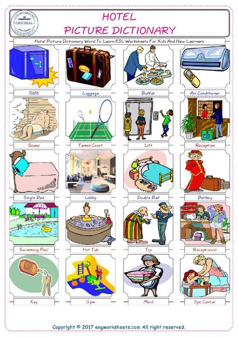 hotel esl printable english vocabulary worksheets