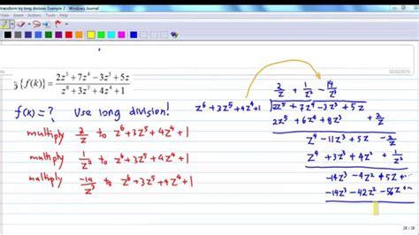bureau inversé inverse z transform by division exle 2