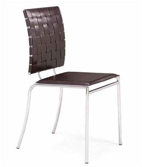 criss cross chair with solid flat seat leatherette
