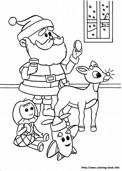 Rudolph Santa Reindeer Claus Coloring Pages Nose