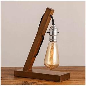 Lampe à Poser Bois : lampe poser rustique en bois baker ~ Teatrodelosmanantiales.com Idées de Décoration