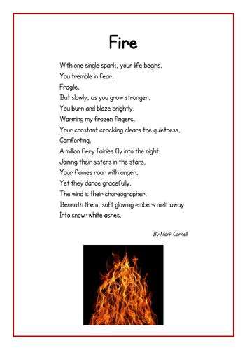 fire poem teaching resources