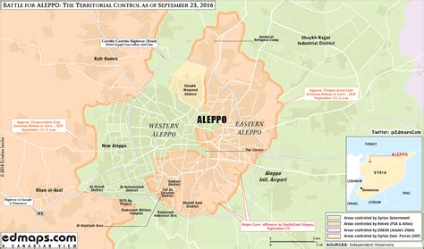 map update military situation  aleppo city  september