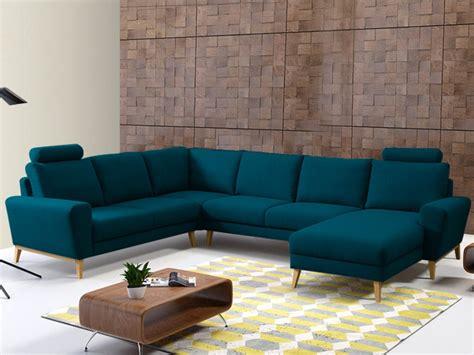 canape d angle 3 places canapé d 39 angle panoramique en tissu bleu ou gris visby