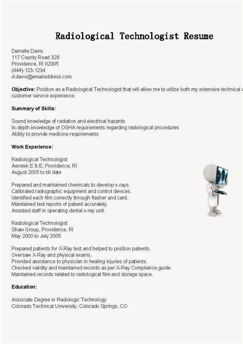 functional resume for radiologic technologist sle resume for radiologic technologist