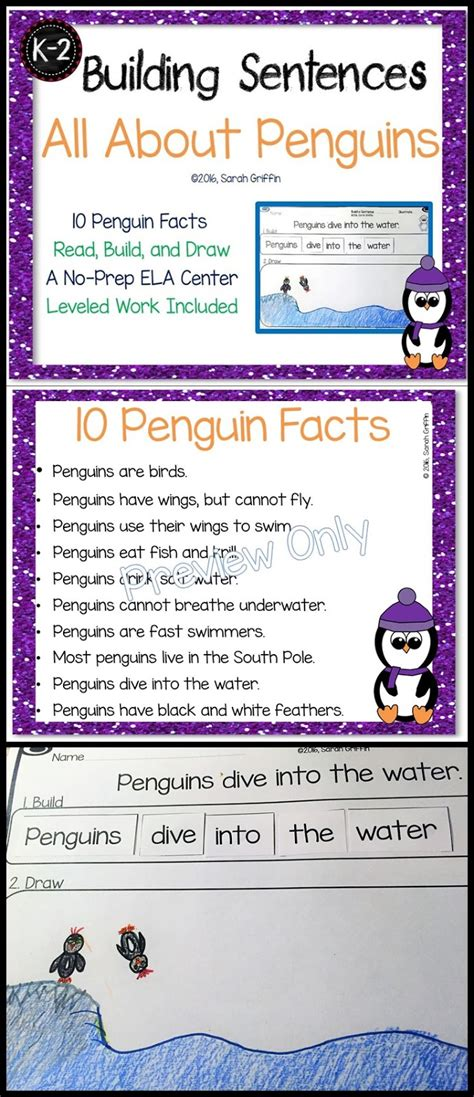 daughters and kindergarten penguin facts and writing center 965 | pin