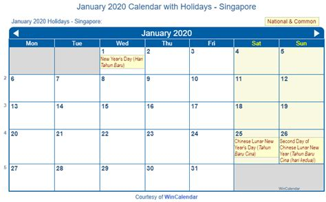 print friendly january singapore calendar printing