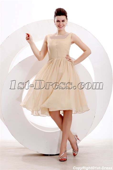 Simple Champagne Short Prom Dress for Junior:1st dress.com