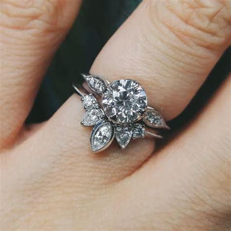 my custom engagement ring and wedding band together futurey wedding rings vintage wedding