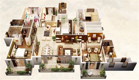 House Plans With Big Bedrooms 50 Four 4 Bedroom Apartment House Plans Architecture
