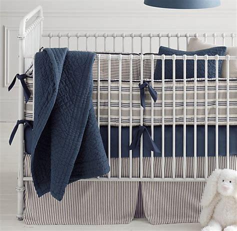 restoration hardware crib bedding vintage ticking stripe vintage washed percale nursery