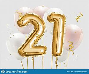 happy, 21th, birthday, gold, foil, balloon, greeting, background