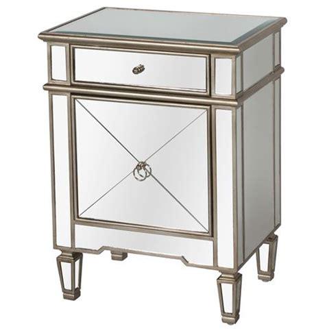 mirrored end tables nightstands sloane hollywood regency silver mirror nightstand