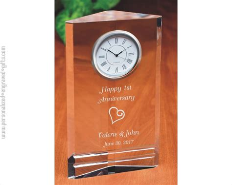engraved crystal clocks personalized   custom message