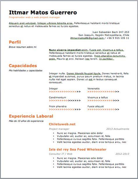 Exemple Curriculum by Curriculum Vitae Plantilla Plantilles Per Descarregar En