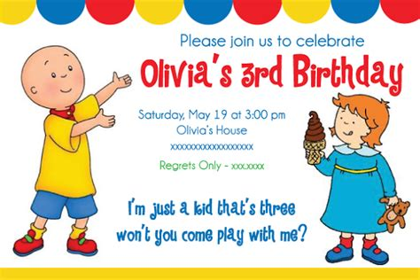 Caillou Birthday Party Printables