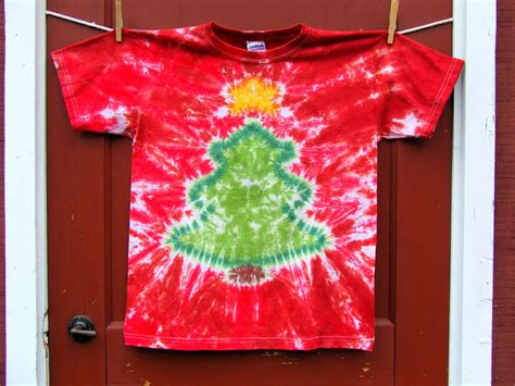 christmas tree tie dye t shirt made to order candy red