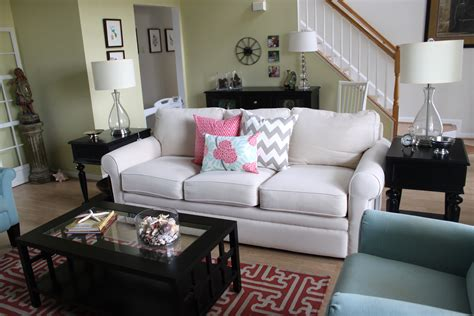 Brown And Aqua Living Room turquoise and coral living room makeover afternoon artist