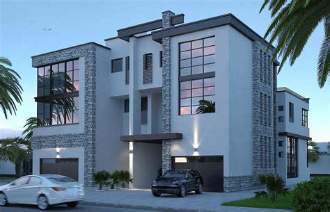 twin courtyard modern house design exterior design