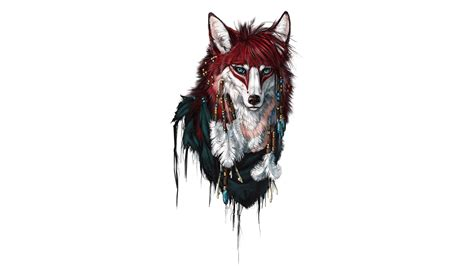 Animals, Colorful, Fox, Wolf, Drawing, Simple Background