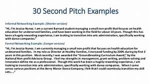 jena job search workshop With 30 second pitch template