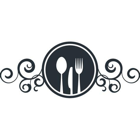 couvert de cuisine stickers enseigne avec couteau fourchette et cuillère pour