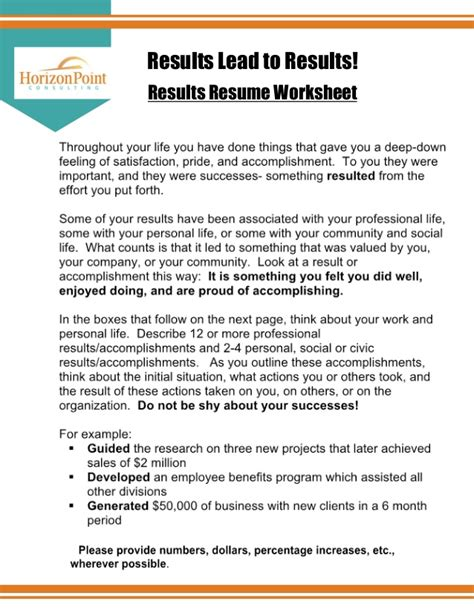 Results Resume by Resume Results Worksheet