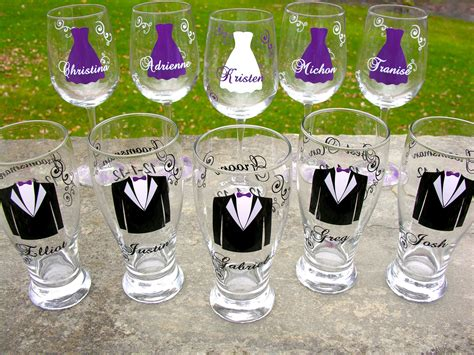 wedding party glasses wine glasses and beer pilsner