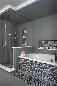 une salle de bains grise elegance et chic contemporain With salle de bain en gris