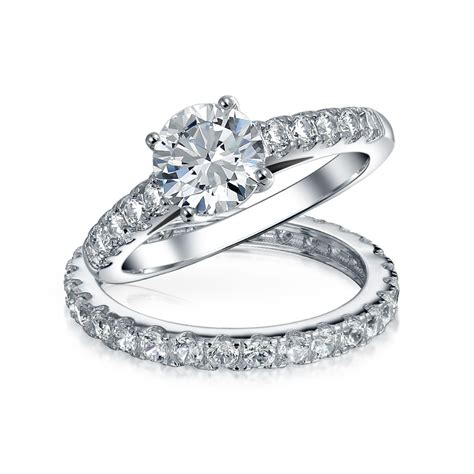 1ct cubic zirconia channel pave colorless 925 sterling silver bridal solitaire cz