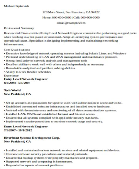Network Engineer Resume Entry Level sle network engineer resume 9 exles in word pdf