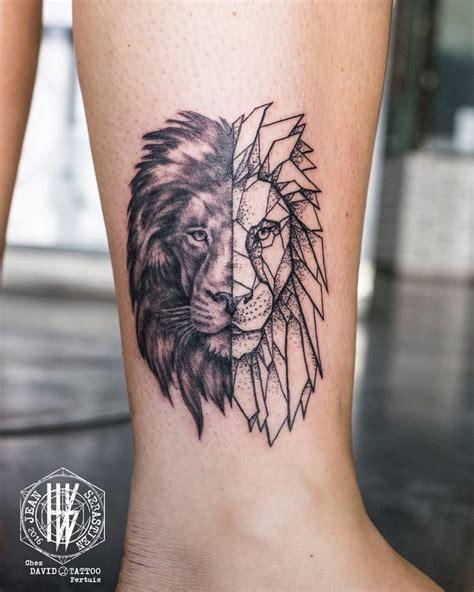 tatouage lion homme mollet