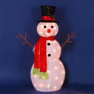 buy 52 quot lighted 3 d snowman with santa hat and scarf outdoor christmas yard art decoration in