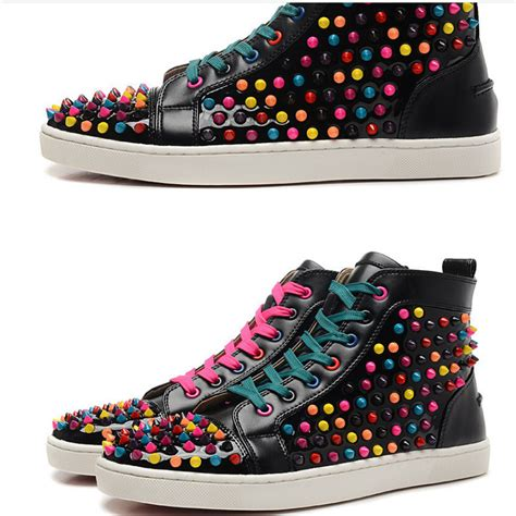 Men Red Blue Black Genuine Leather With Spikes High