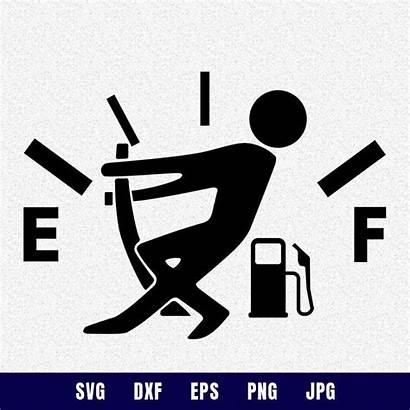 Svg Gas Gauge Empty Funny Hair Silhouette
