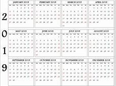 2019 Editable Yearly Calendar Template