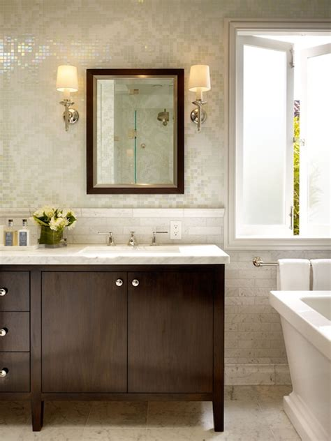 espresso vanity  white marble tops design ideas
