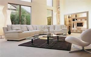 deco salon blanc pour une atmosphere accueillante 80 idees With tapis persan avec canapé d angle cuir blanc cassé