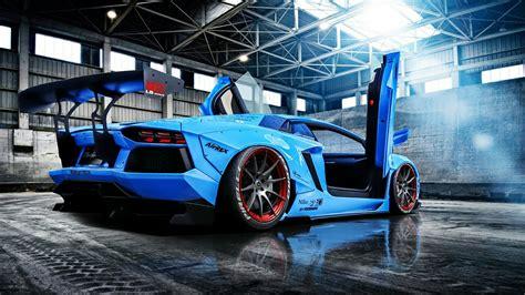 Blue Lamborghini Aventador Hd Wallpaper